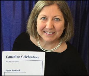 """Image de/of Judy Diez d'Aux, avec l'oeuvre publiée de « Canadian Celebration ». Judy Diez d'Aux with published work for flute ensemble """"Canadian Celebration""""."""